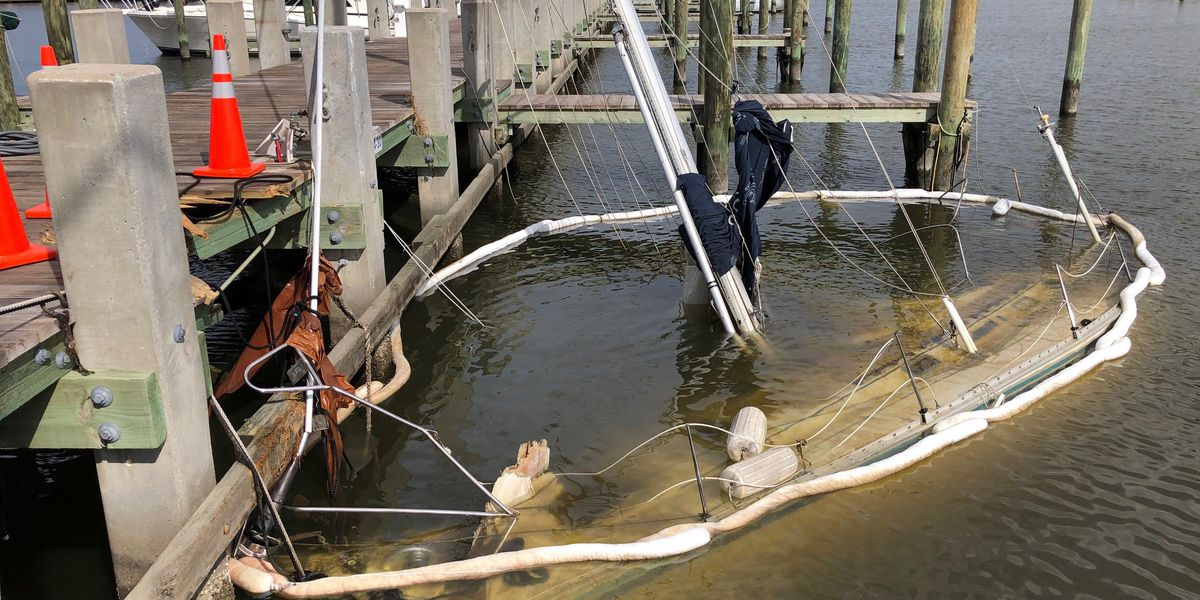 Bay St. Louis dealing with storm damage, tree debris and sunken boats one week after Hurricane Zeta