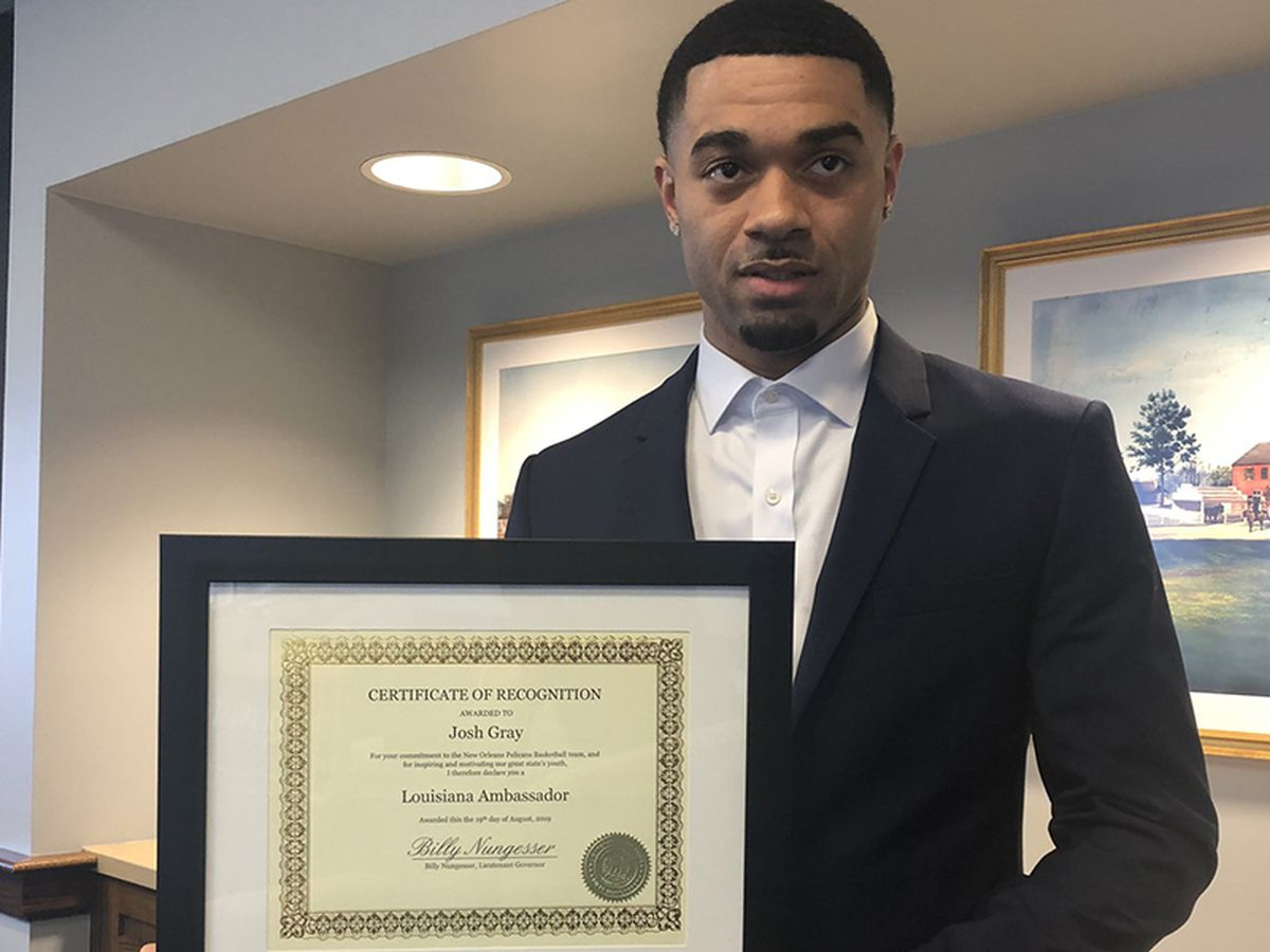 Former LSU basketball player Josh Gray, now with Pelicans, recognized as official La. ambassador