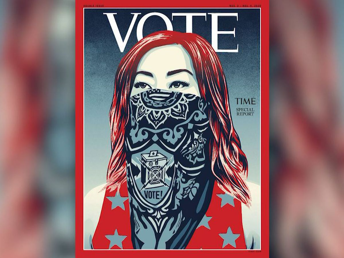 Time replaces logo on magazine cover with 'Vote'