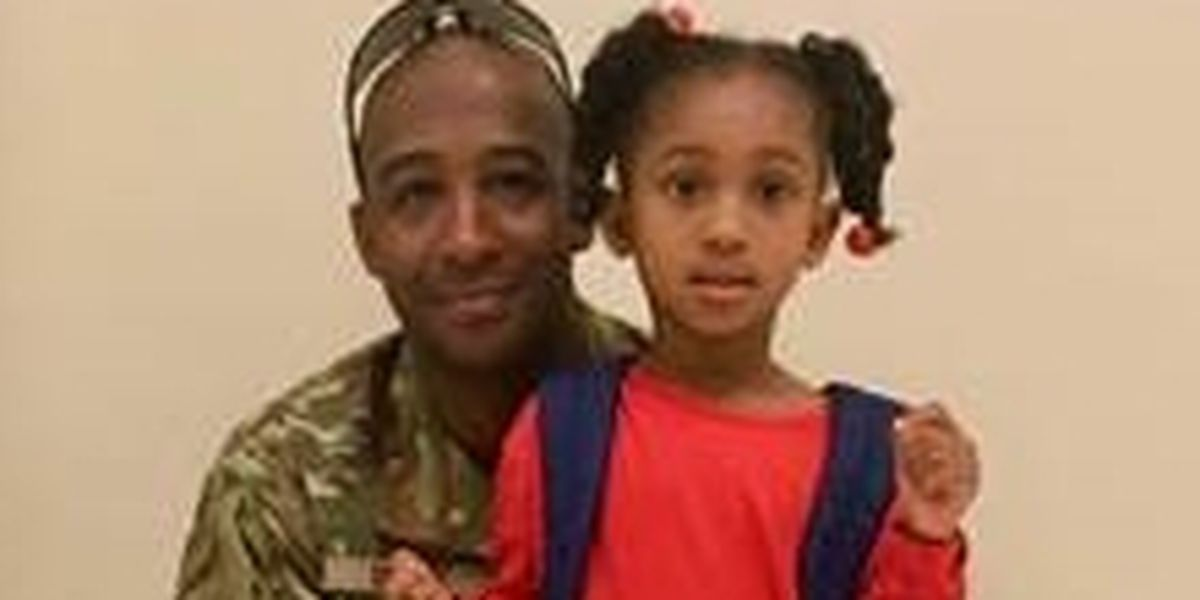 Military dad surprises daughter with homecoming at Audubon Charter