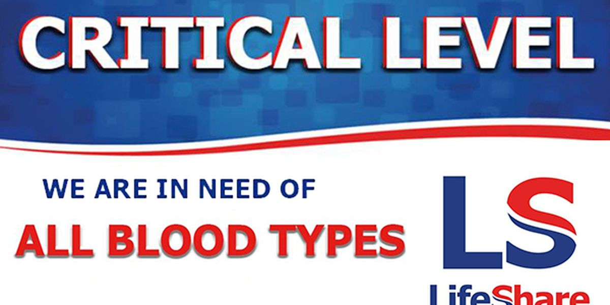 LifeShare Blood Center reaches critical blood supply level