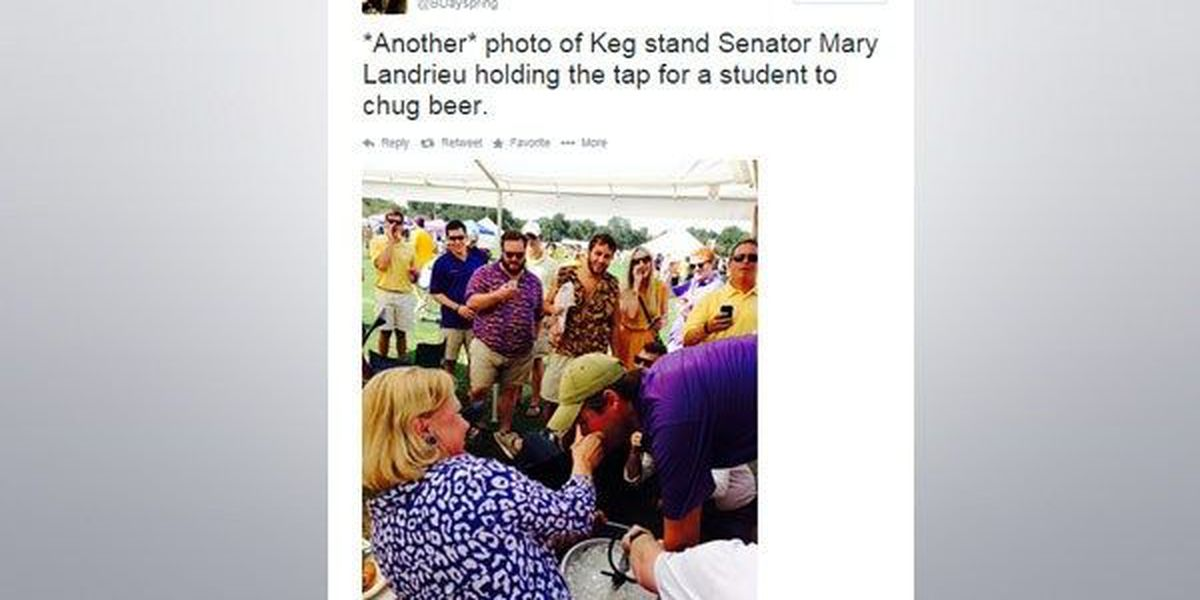 Senator Mary Landrieu helps LSU tailgater with keg stand