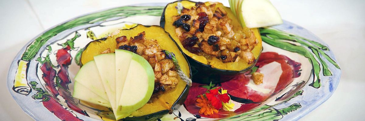 Pear, Apple, and Cranberry-Stuffed Acorn Squash