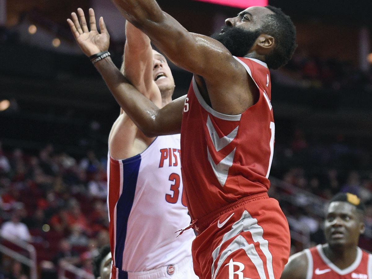 Harden's 43 points leads Rockets over Pistons 126-124
