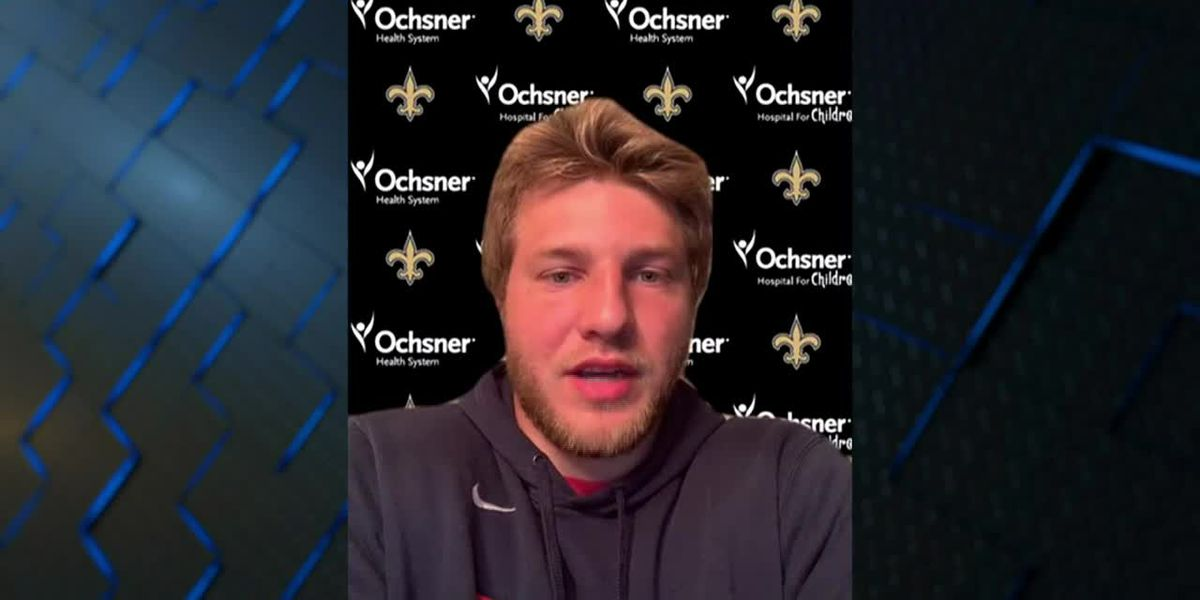 Adam Trautman meets with the media after being drafted by the Saints