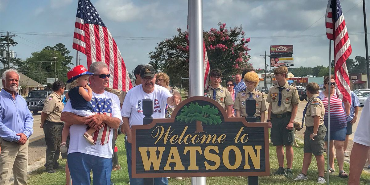 Watson: American flag raised, welcome sign unveiled on Fourth of July