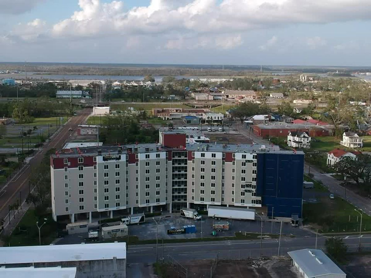 Drone footage of downtown Lake Charles from Hurricanes Laura and Delta