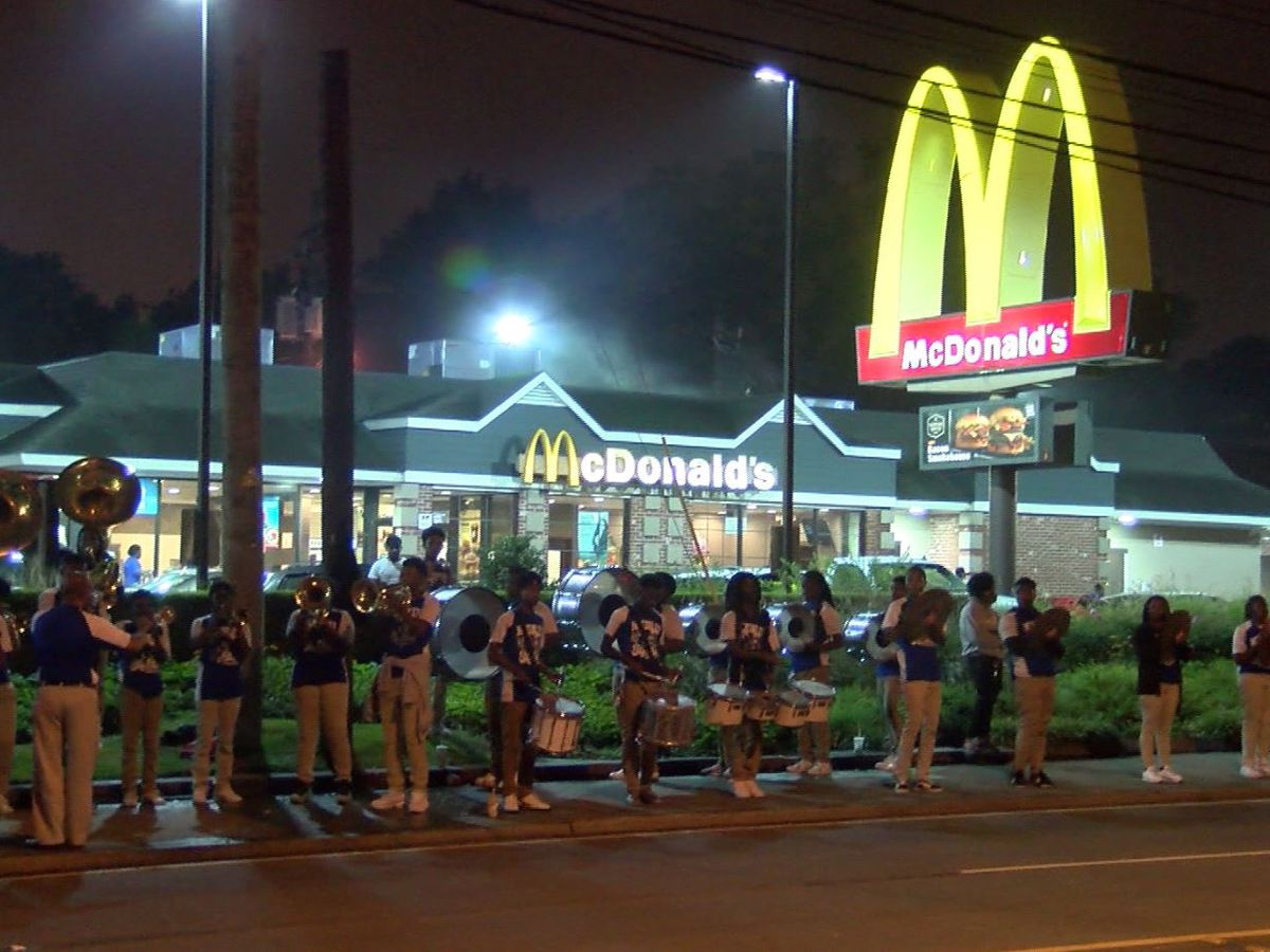 McKinley High bands plays outside McDonald's to raise money for school