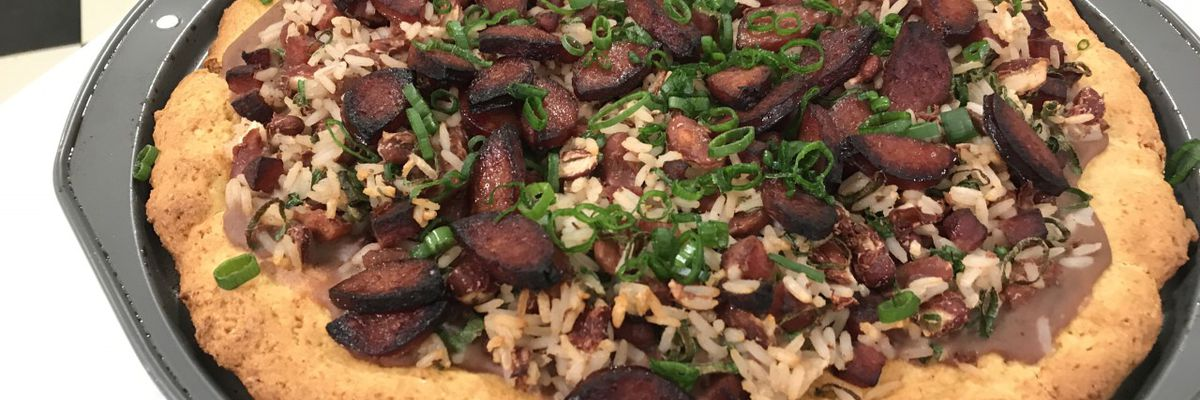 New Orleans red beans, rice and sausage pizza
