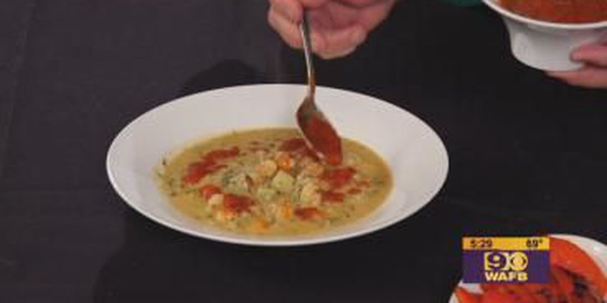 Stirrin' It Up: Yukon Gold Potato, Crawfish, and Crab Soup with Roasted Red Pepper Drizzle (Feb. 13, 2018)