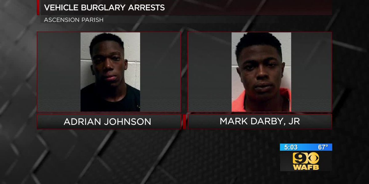 Vehicle burglary arrests in Ascension Parish