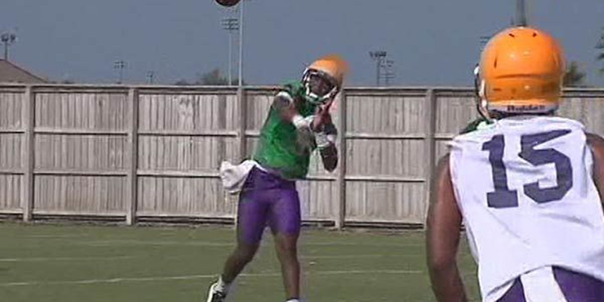 LSU players perform drills for day 2 of fall camp