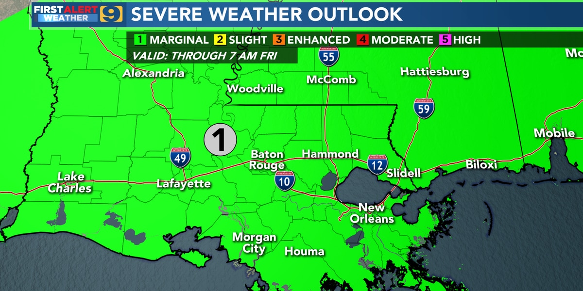FIRST ALERT FORECAST: Marginal risk for severe weather possible