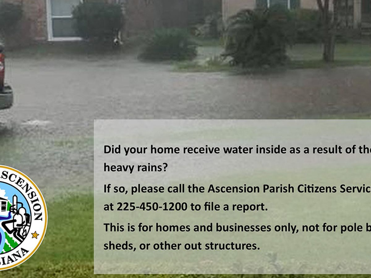 Ascension Parish asks residents to report water in homes