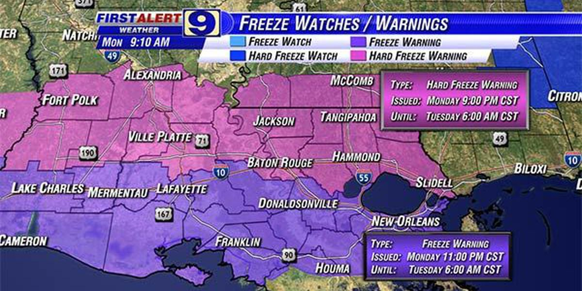 Hard freeze expected for much of Louisiana