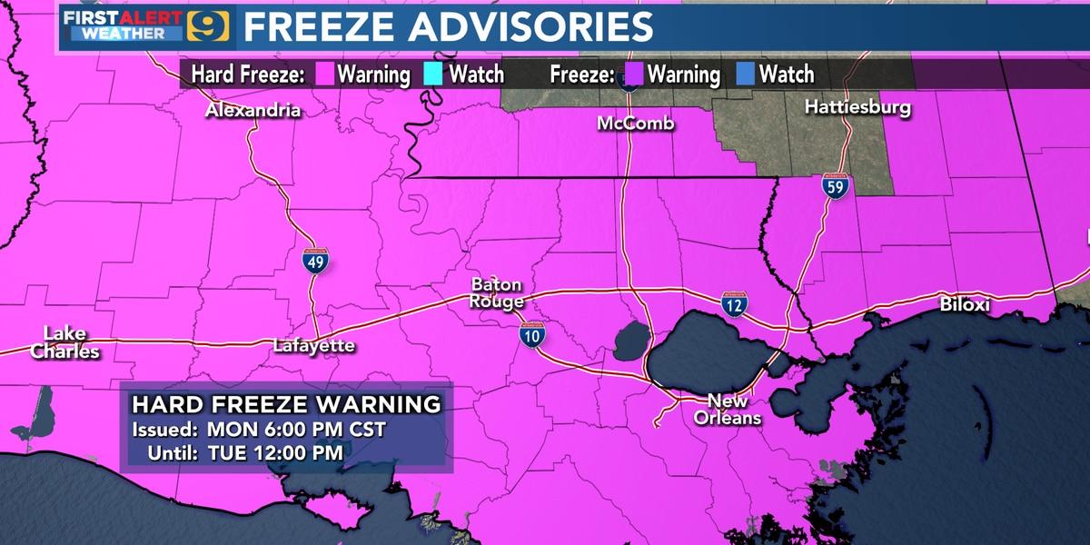 Winter precipitation exits Baton Rouge area; bitter cold arrives