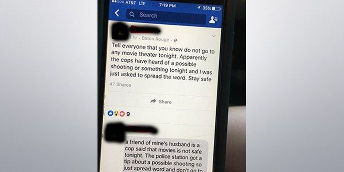 BRPD debunks movie theater shooting rumor