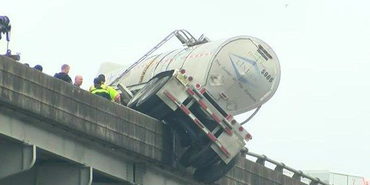 Driver ticketed for crashing into 18-wheeler, causing it to partially hang off Miss. R. Bridge