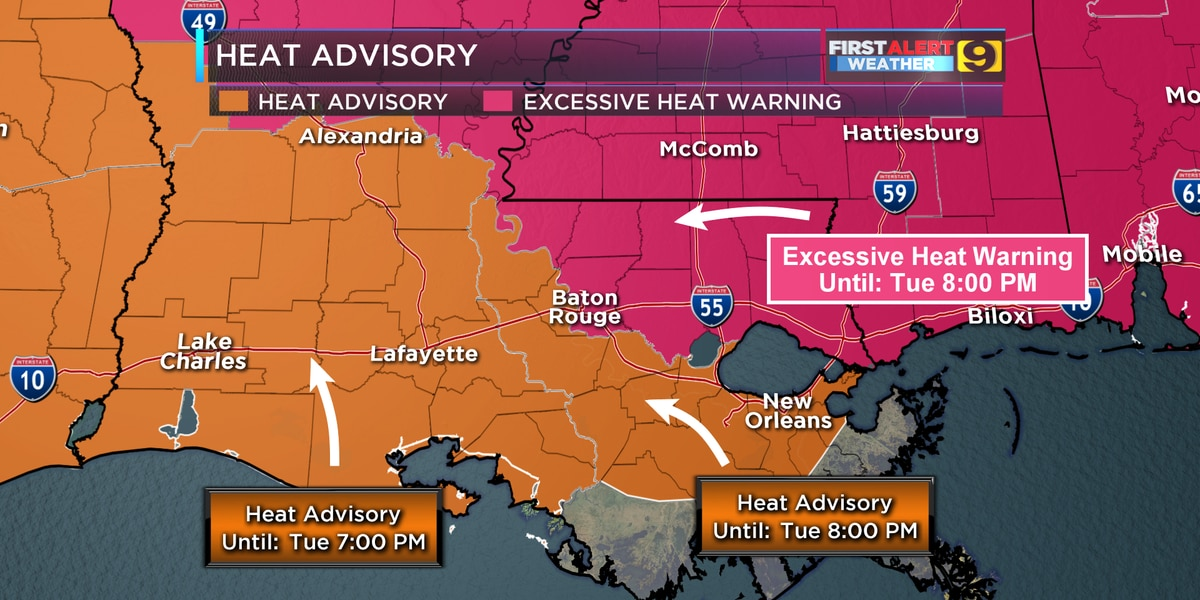 Excessive Heat Warning issued for Baton Rouge, areas north and east