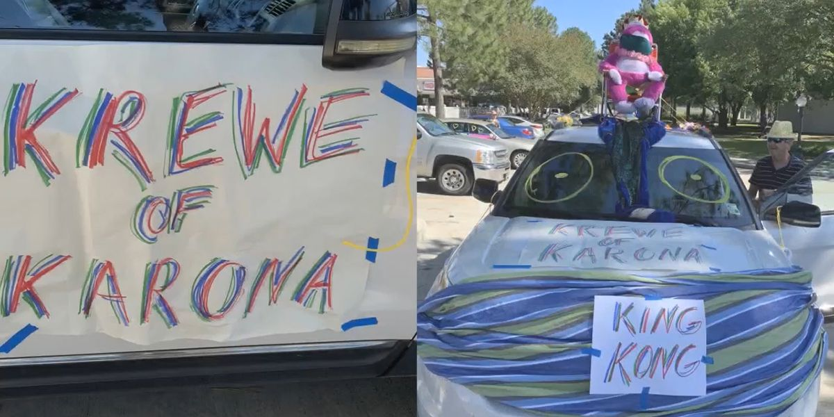 'Krewe of Karona' holds car parade to spread love not virus to senior living community