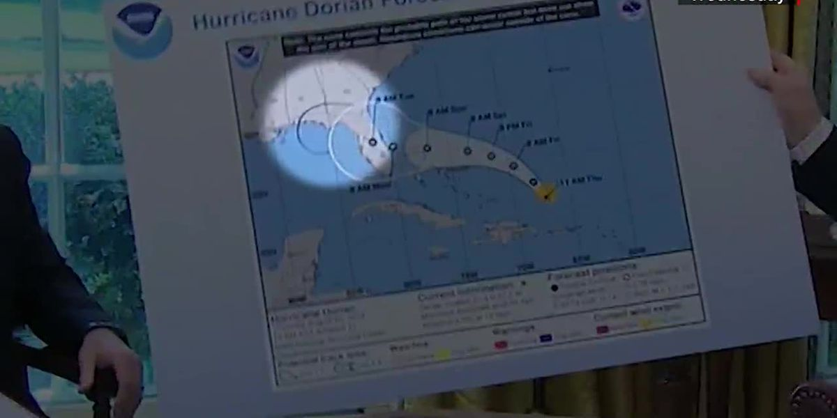Trump shows altered map of Hurricane Dorian's trajectory