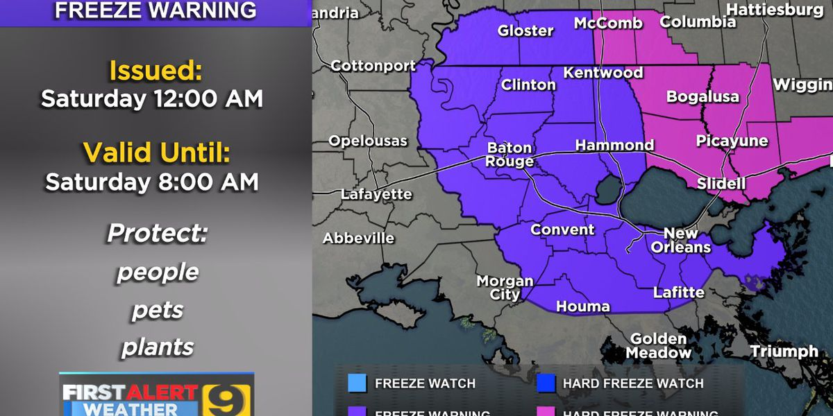 FIRST ALERT FORECAST: Early morning freeze Saturday, warming trend on Sunday