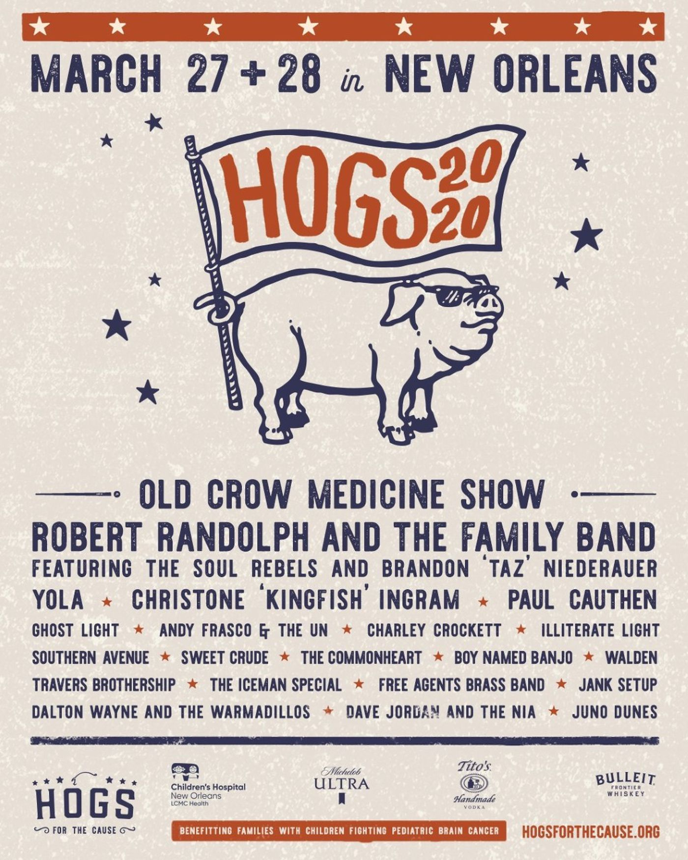 Hogs for the Cause will take over the UNO Lakefront Arena on March 27 and 28.