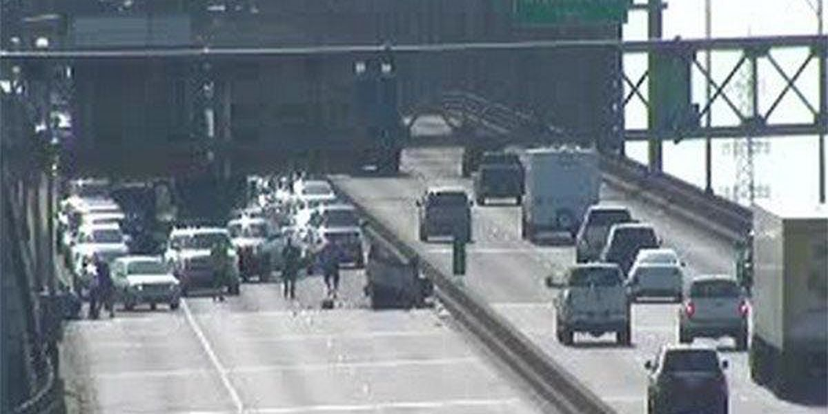 Crash on 'New Bridge' involving overturned vehicle causes heavy delays on I-10 West for hours