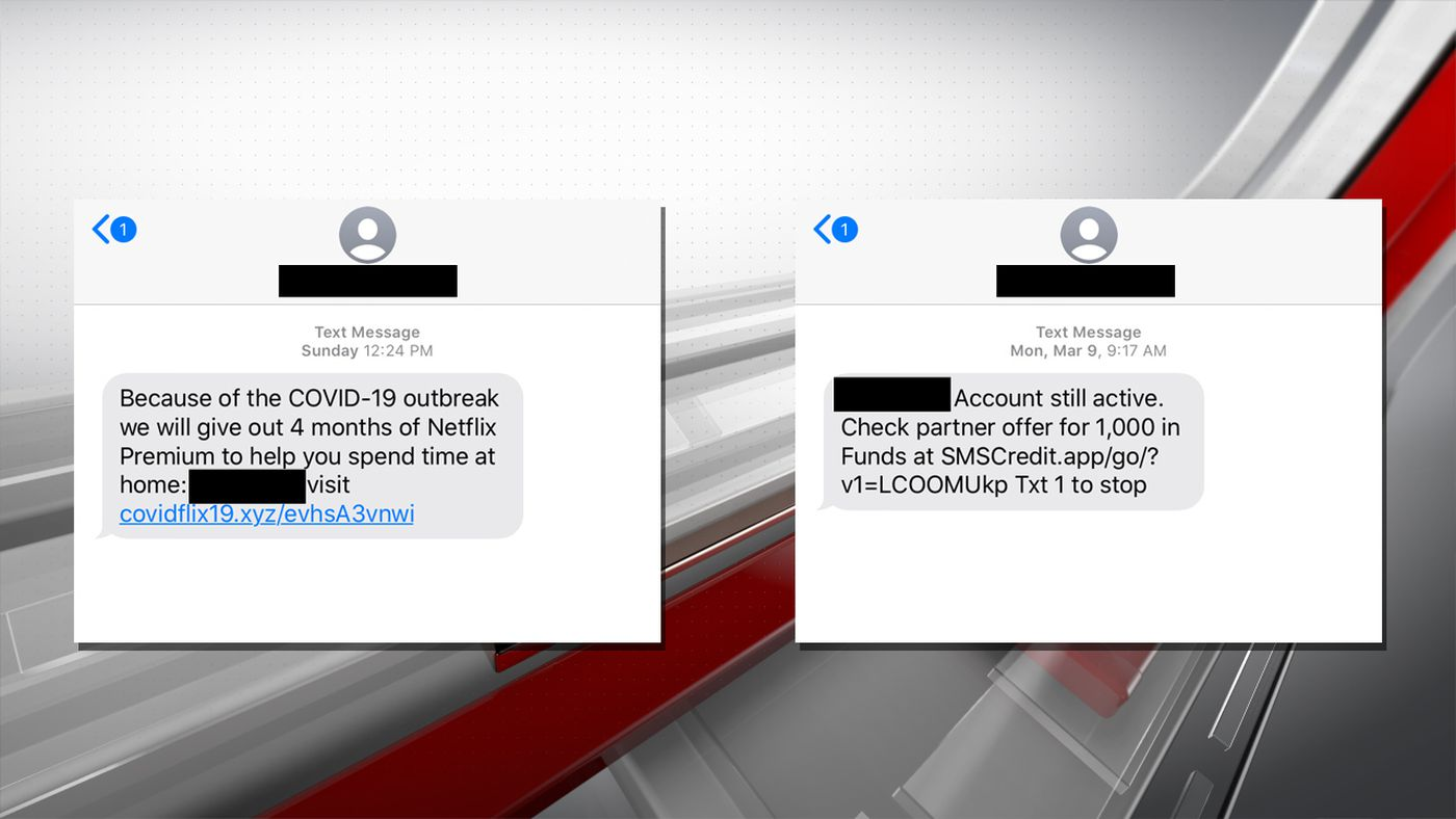 Scammers are attempting to take advantage of people during the coronavirus outbreak with phishing text messages and emails.