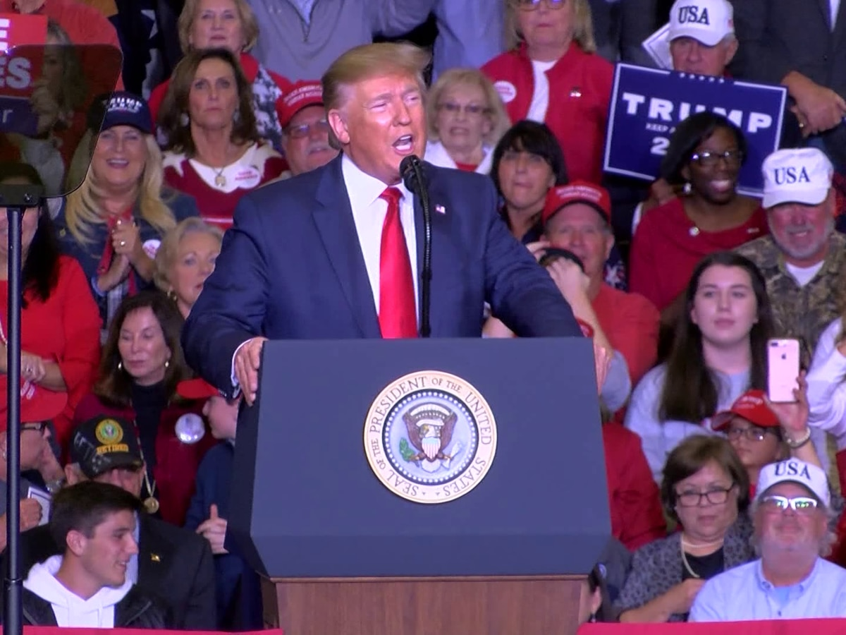 President Trump speaks at campaign rally in Monroe