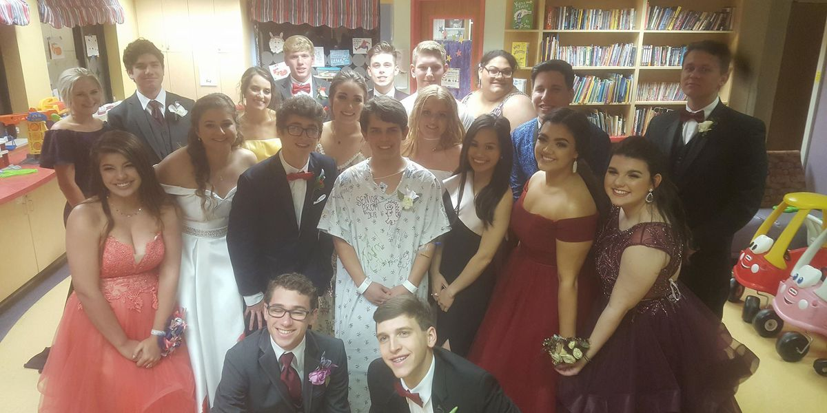 Teenager suffers collapsed lung days before senior prom; friends surprise him at hospital