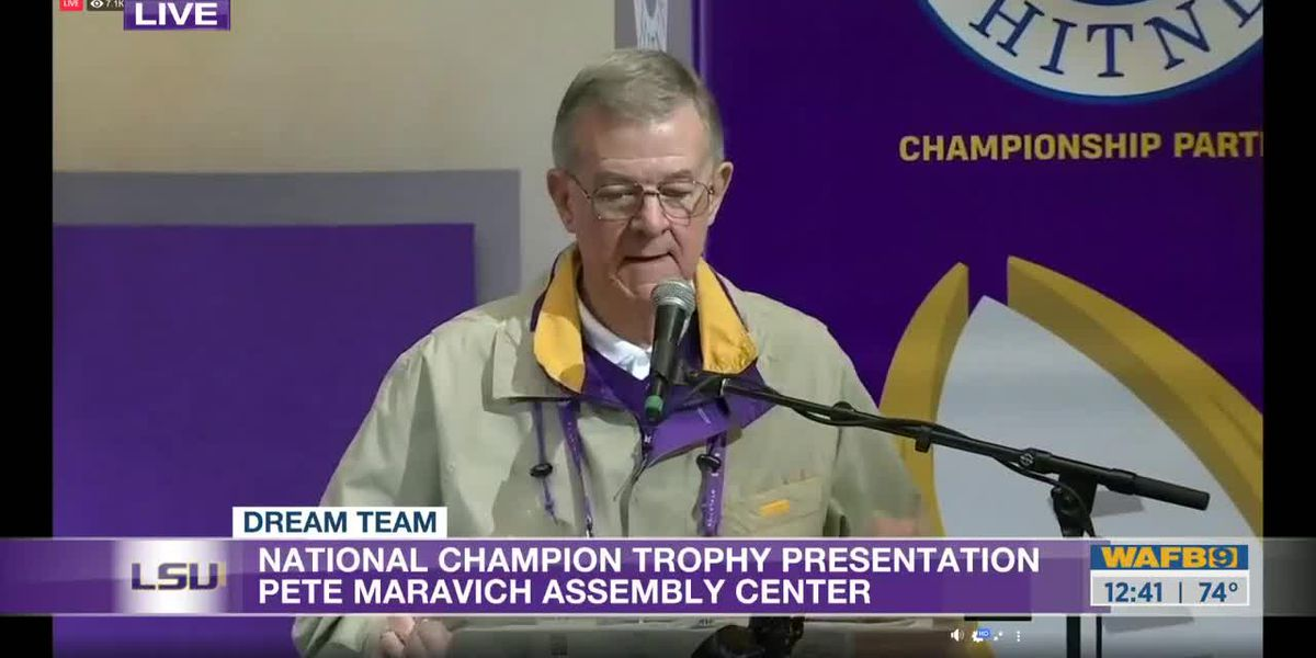 Trophy presentation at the LSU PMAC