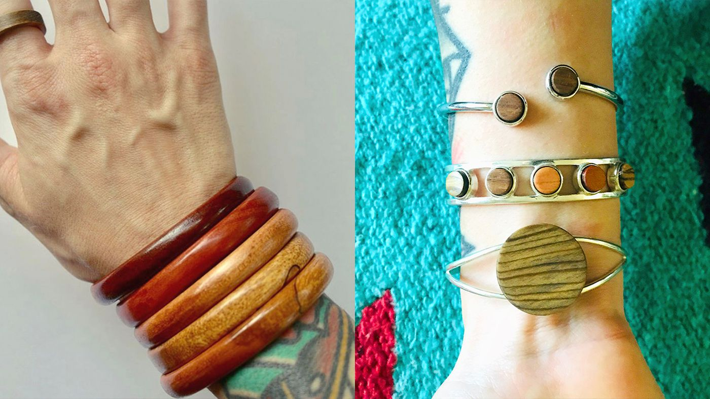 Molly Taylor handcrafts jewelry out of wood and brings her creations to shows whenever possible.