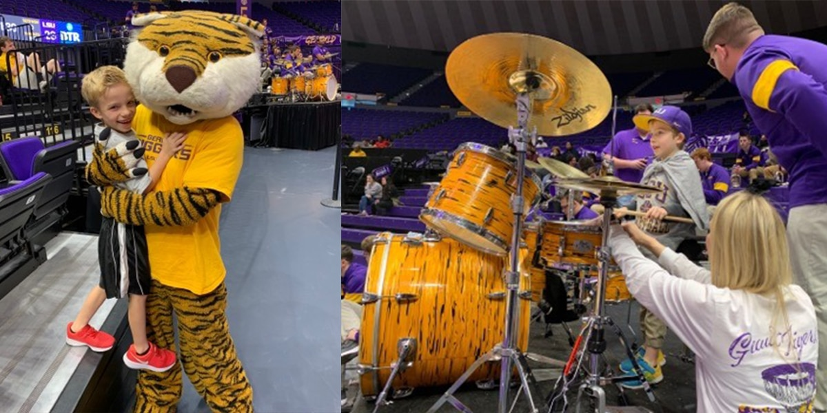 Young LSU fan stoked after directing band at basketball game