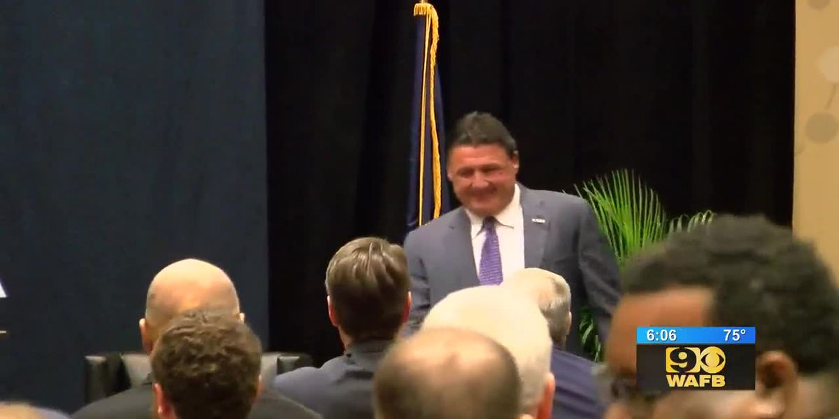 Ed Orgeron speaks at summit for business, government leaders