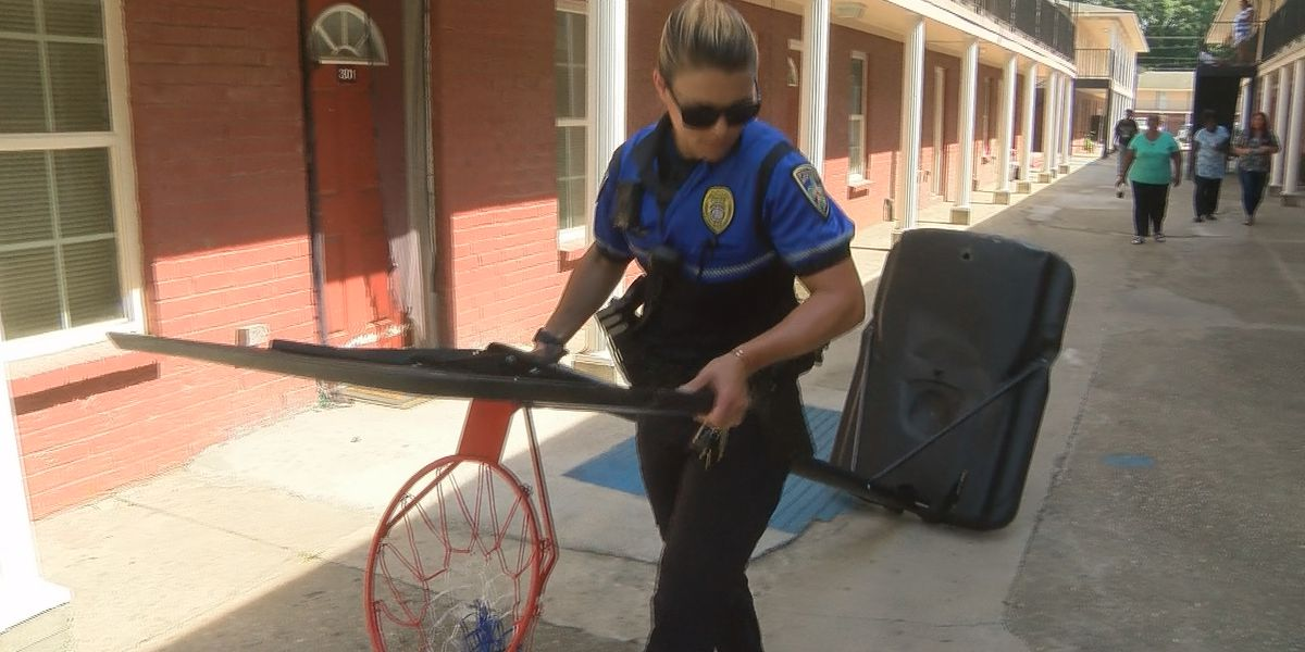 BRPD donates basketball goals for kids at apartment complex