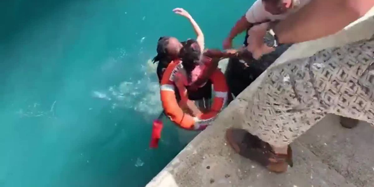 RAW: Men jump in water to rescue woman in wheelchair who rolled off pier