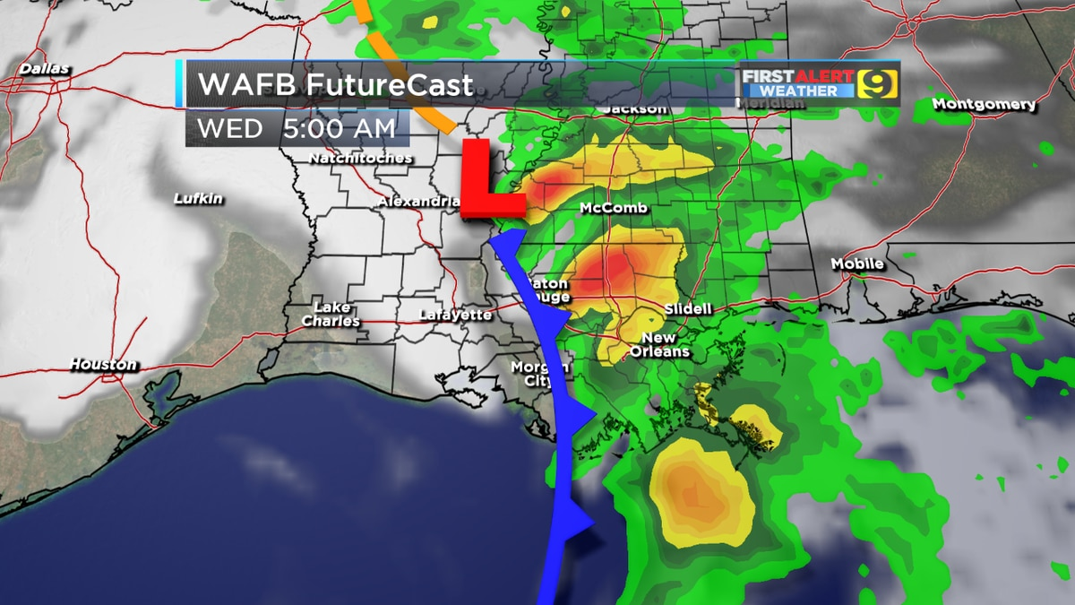 FIRST ALERT FORECAST: Showers, possible thunderstorms move through overnight into Wednesday morning