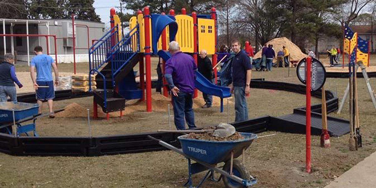 LSU Volunteers build playground for Baton Rouge elementary school