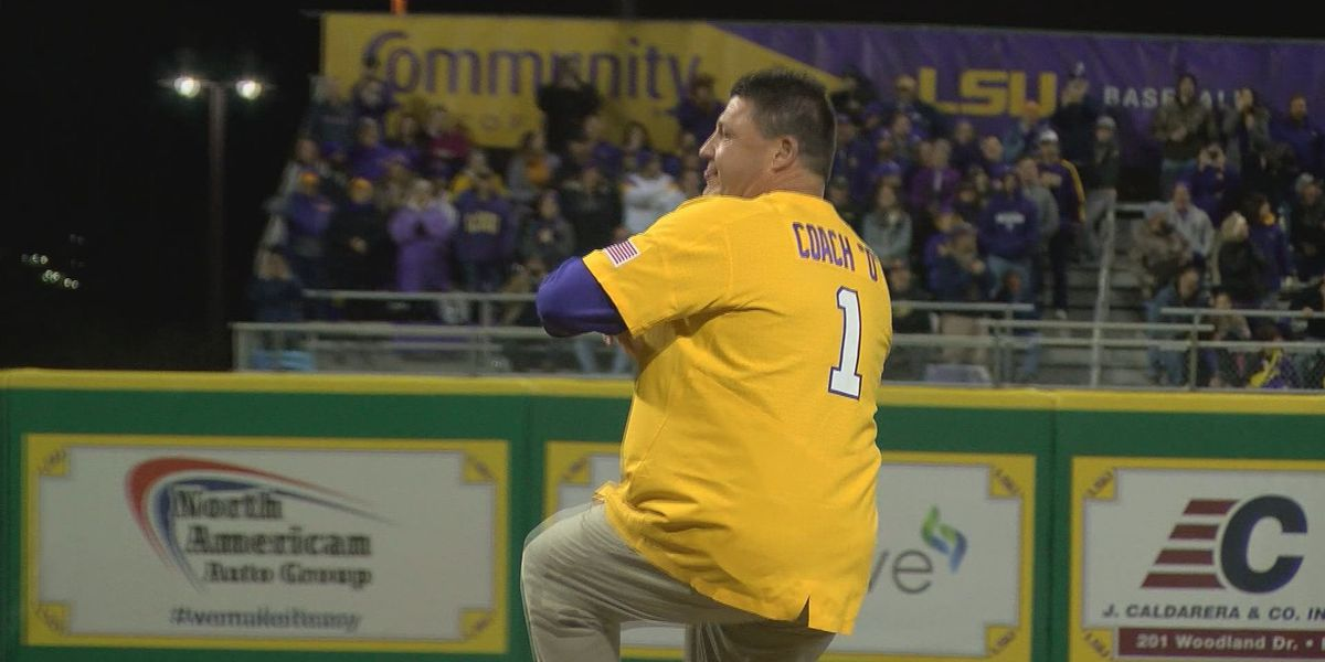 Watch Coach O throw the first pitch of LSU baseball's season opener