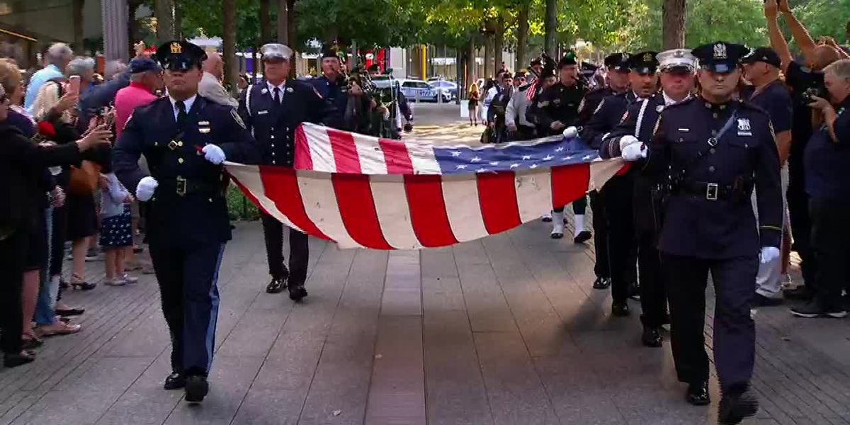9/11 observance: Flag, bagpipes procession in NYC