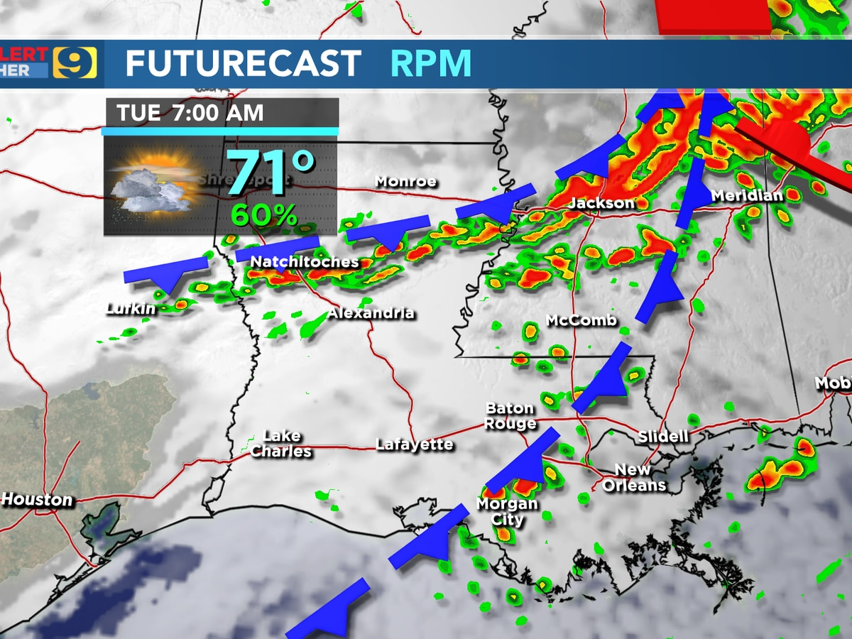 FIRST ALERT FORECAST: Cool front moving through Tuesday