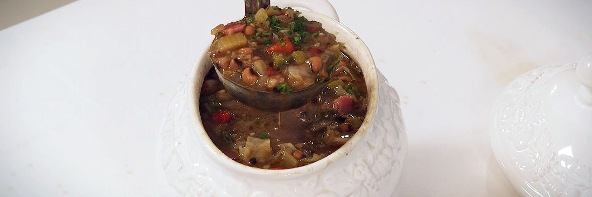 New Year's Day Black-Eyed Pea, Cabbage, and Ham Gumbo