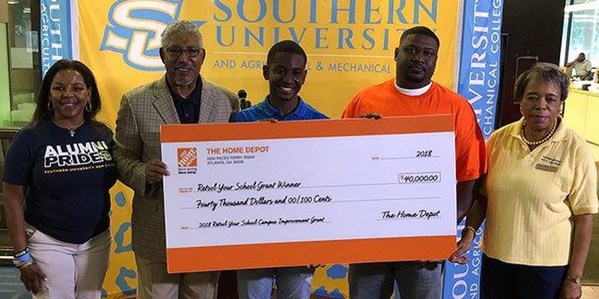 Southern receives check from Home Depot after winning grant in April