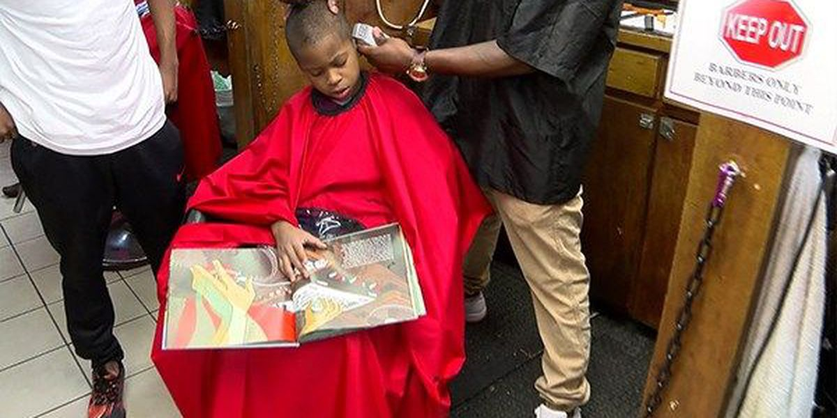 Baton Rouge barber shop gives free haircuts to children for reading