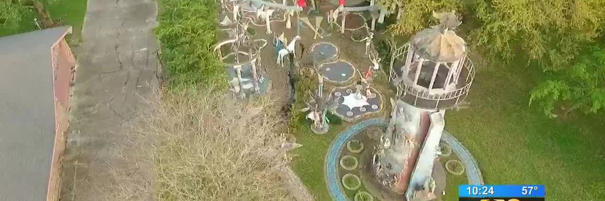 A sculpture garden discloses over 100 life-size sculptures crafted by a humble, mysterious artist