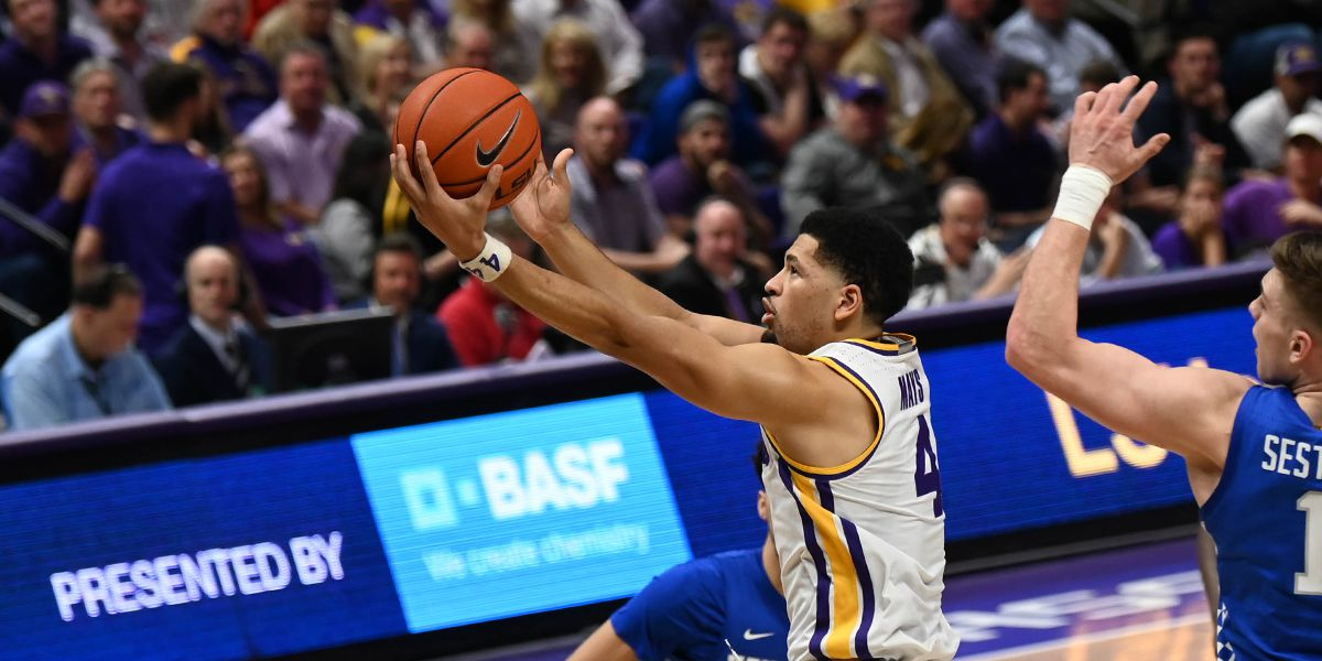 LSU's senior point guard, Skylar Mays played fairly well, as he excelled at scoring the basketball in his team's loss to Kentucky. (Photo: Josh Auzenne/WAFB-TV)