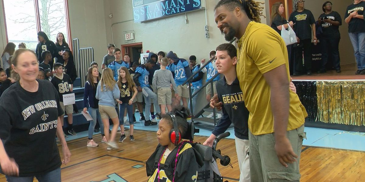 St. Amant Middle students get Saints pep rally with Cam Jordan