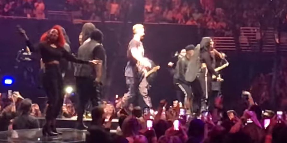 Justin Timberlake leads Who Dat chat at concert