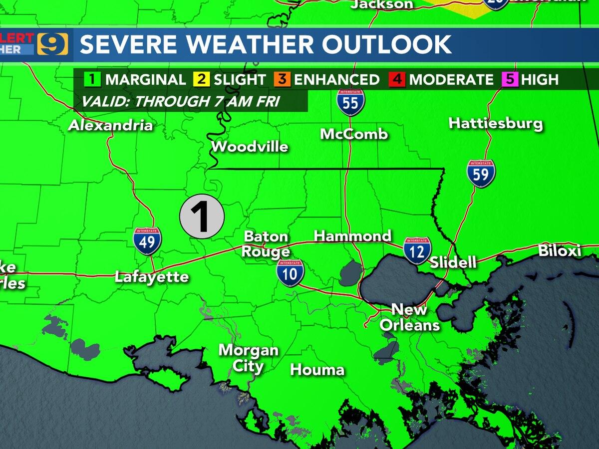 FIRST ALERT FORECAST: Marginal risk for severe weather possible